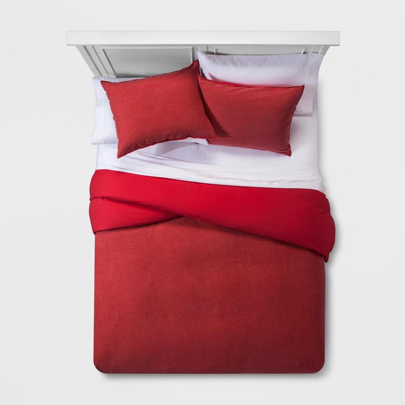 Сплошной цвет моющийся хлопок постельное белье пододеяльник набор