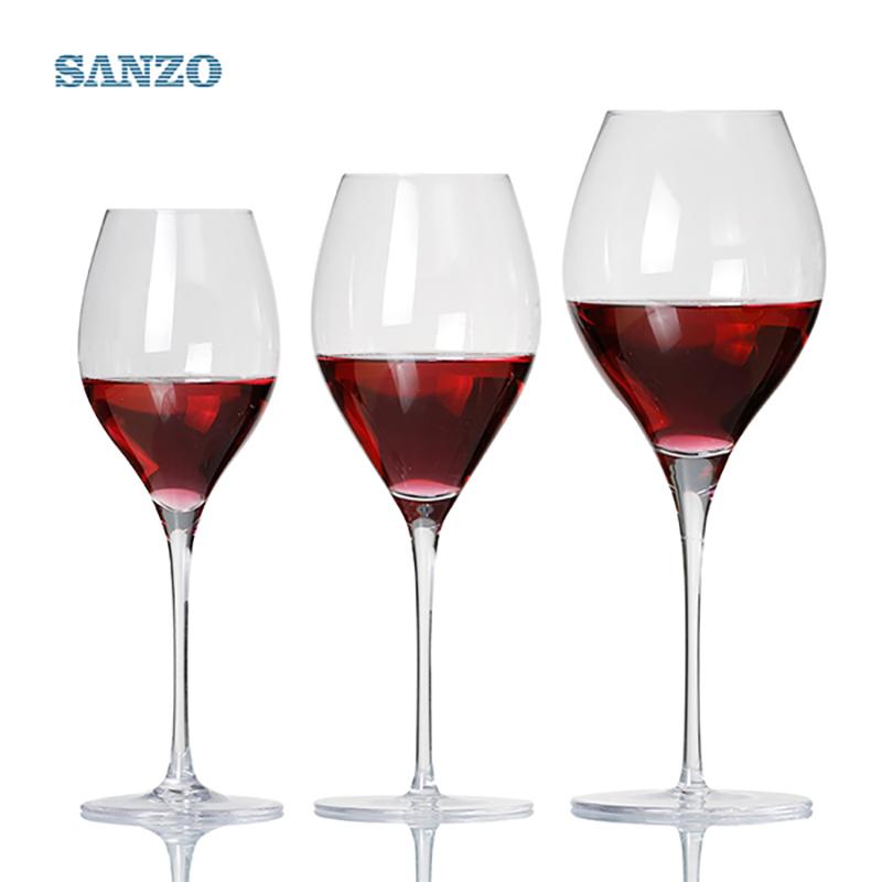 SANZO Черный стебель Lismore Balloon Wine Glass Ручной Бессвинцовые хрустальные очки с гравировкой Толстые стаканы