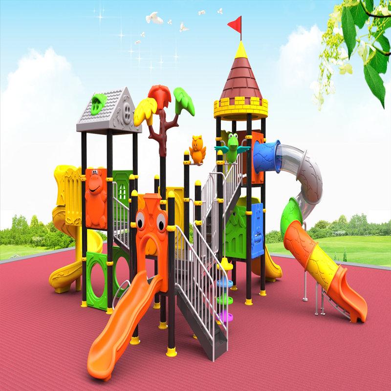 открытая игровая площадка с детской горкой детская игрушка дом