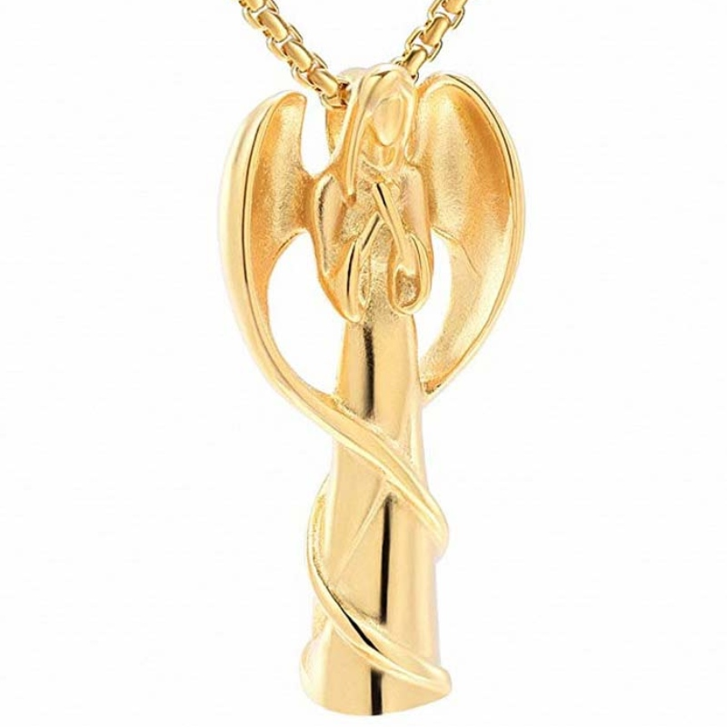 Кулон кремация кулон ангел ожерелье урна кулон стерлингового серебра 925 пробы