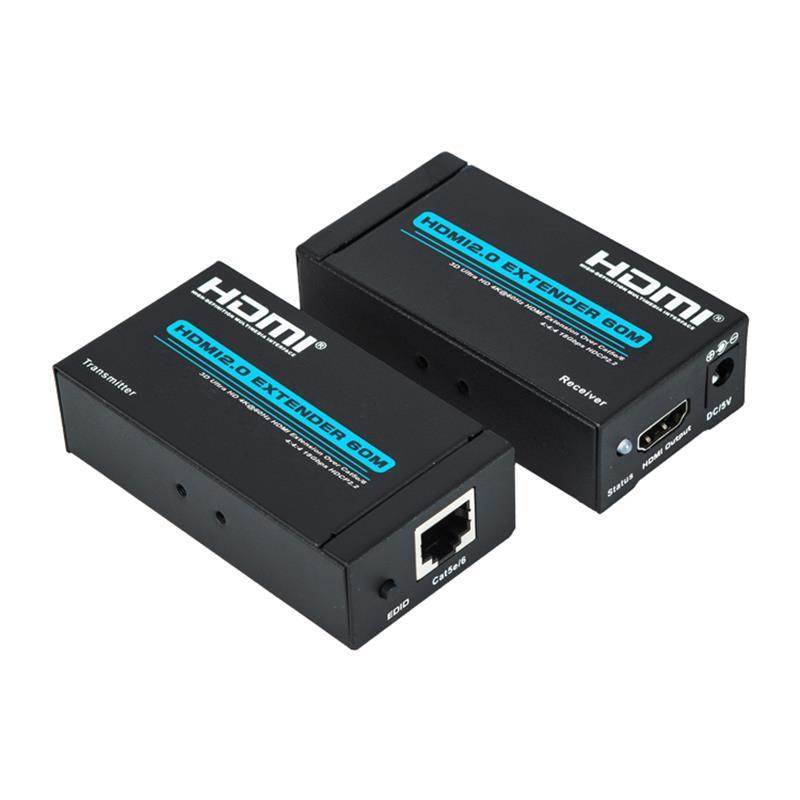 V2.0 HDMI-удлинитель 60 м. Поддержка одного кабеля Cat5e / 6 Ultra HD 4Kx2K при 60 Гц HDCP2.2