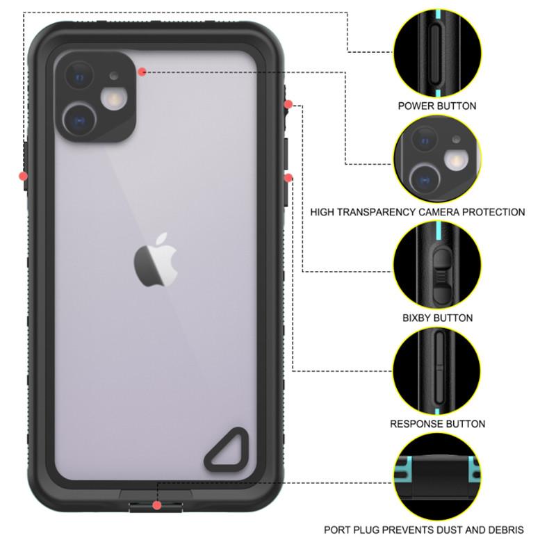Новый pc + tpe + pet водонепроницаемый пыленепроницаемый снегозащитный чехол для телефона Аксессуары для iphone 11 (синий) прозрачная задняя крышка