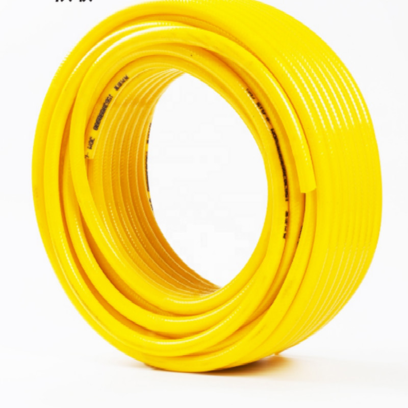 Желтый цвет ПВХ плетеный армирует пластиковый ПВХ садовый шланг китайского завода