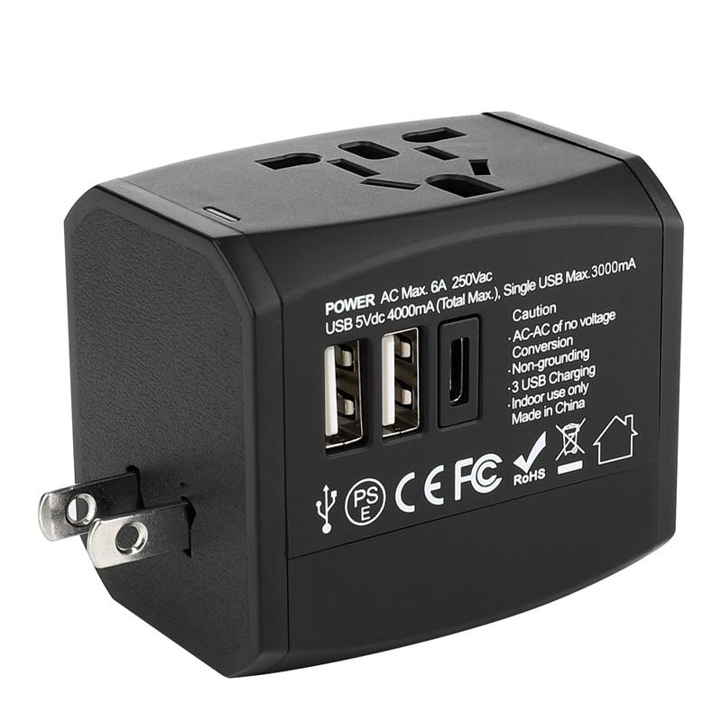 RRTRAVEL новый пользовательский универсальный адаптер для путешествий smart world с USB-разъемом для быстрой зарядки для Европы, Великобритании, США, Австралии