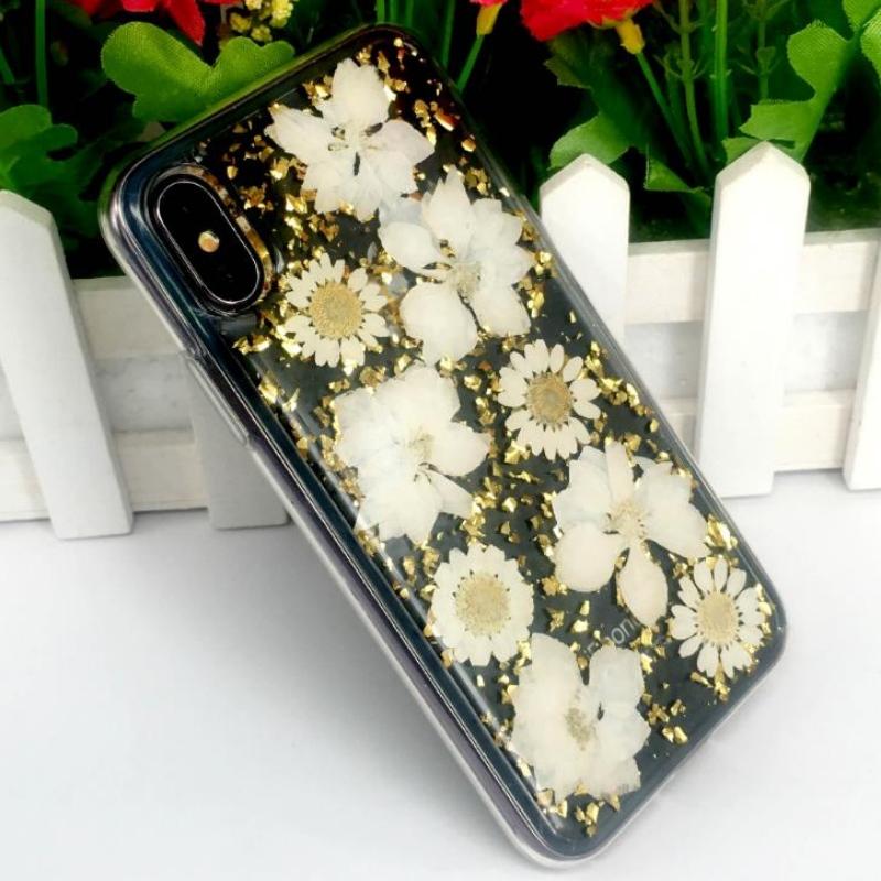 Прямой iPhone от производителя с золотым сусальным клеем из настоящих цветов с тиснением в цвету ТПУ яблоко прозрачный небьющийся корпус