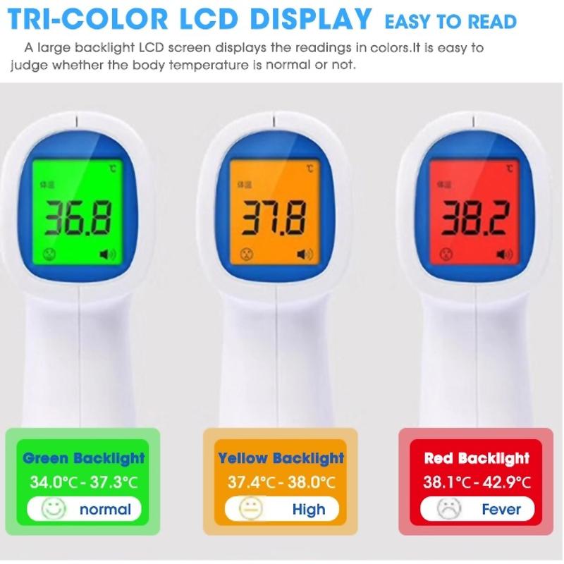 цифровая медицина не подключена к инфракрасному термометру на лбу взрослого человека, используется для нагрева, с